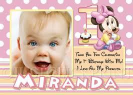 birthday thank you card baby minnie mouse birthday photo thank you card printable