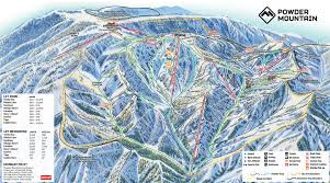 Ski Utah Map by Utah Ski Maps Powder Mountain Ski Resort Trail Map