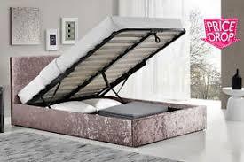 3ft 4ft 4ft6 5ft crushed velvet ottoman bed silver black