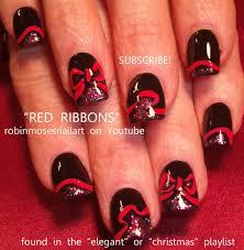 robin moses nail art black with red ribbon nail red and green