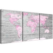 Cherry Blossom Map Large Pink Grey Map Of World Atlas Canvas Wall Art Print