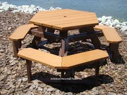 Free Plans Hexagon Picnic Table by Hexagon Picnic Tables At American Recycled Plastic Outdoor Furniture