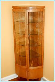 Curio Cabinet With Glass Doors Fancy Convex Shape Kitchen Corner Curio Cabinet Features Brown
