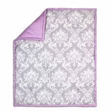 damsel damask crib starter set in purple u0026 grey