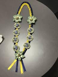 graduation leis navy blue and yellow money ready for graduation grad