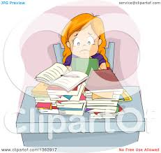 homework design studio clipart of a stressed red haired white girl sitting at a desk with