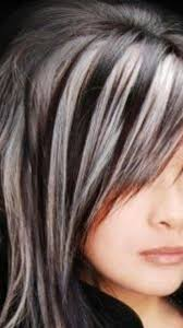 shag haircut brown hair with lavender grey streaks great way to hide the grey hairs put silver grey highlights in