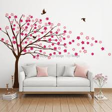 blowing tree with flowers wall decal kids wall decals blowing tree with flowers wall decal image 0