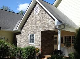 exterior design gable roof with exciting versetta stone and white