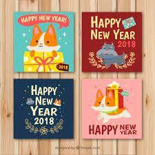 new year cards with cats and dogs vector free