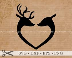 buck and doe heart deer svg file buck doe silhouette svg png dfx deer