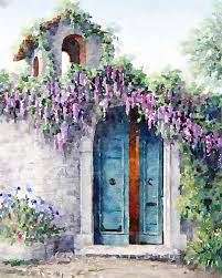 wisteria cottage in provence a watercolor fine art print french