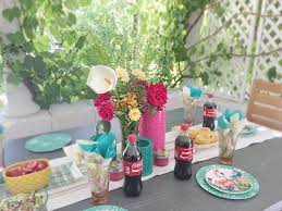 create a backyard family gathering with the tablescape
