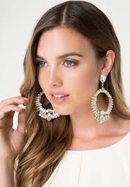 dramatic earrings lyst bebe dramatic earrings in metallic