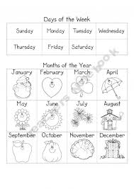 days of the week and months of the year worksheets worksheets