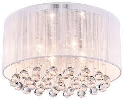 chrome flush mount light crystal 4 light white drum shade chrome flush mount chandelier with