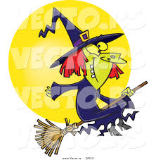 flying witch halloween vector of a happy cartoon witch on her broomstick flying in front