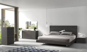 Contemporary Solid Wood Bedroom Furniture Bedroom King Size Grey Modern Stained Solid Wood Panel Bed