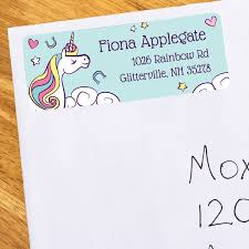 unicorn personalized address labels 30