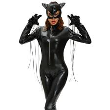 Catsuit Halloween Costumes 2017 Solid Fierce Wet Halloween Catsuit Costumes