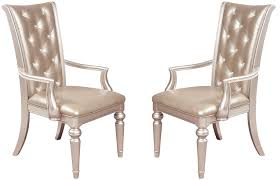 dynasty gold metallic arm chair set of 2 arm chairs dining