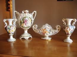 Capodimonte Vases Antique Keramos Capodimonte Capo Di Monte Vase Set Wow Flawless Antique