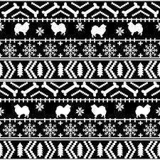 japanese pattern black and white japanese spitz fair isle silhouette christmas fabric pattern black