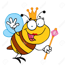 queen bee cartoon character waving for greeting royalty free