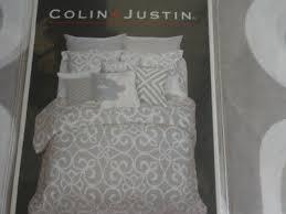colin u0026 justin light gray u0026 white modern 3pc queen duvet cover set