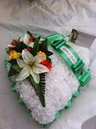 funeral ribbon cluster heart funeral tribute silky bouquets ltd