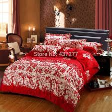 online cheap chinese wedding red winter bedding sets love brushed