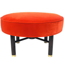 Home Decorators Collection Bar Stools Modern Heirloom Tomato Orange Velvet Ottoman With Brass Feet At