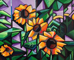 cubism flower painting a personal favorite from my etsy shop https www etsy listing