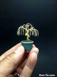 a mini gold weeping wire bonsai tree by ken to by kentoart on
