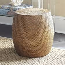 Wicker Accent Table Rattan Drum Stool Wisteria