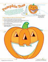 pumpkin game candy toss worksheet education com