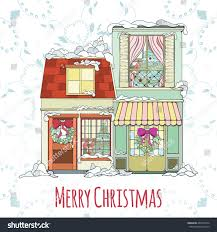 House Invitation Card Christmas New Year House Invitation Card Stock Vector 483363976