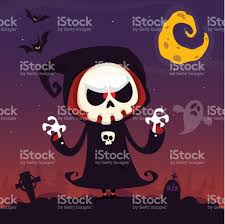 halloween background with purple cute cartoon grim reaper with scythe poster for halloween party