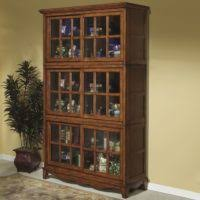 furniture brown wooden tall book cabinet with sliding glass door