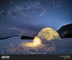 night landscape snow igloo light image u0026 photo bigstock
