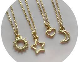 star friendship necklace images Sun and moon friendship necklaces dainty minimalist jewelry jpg