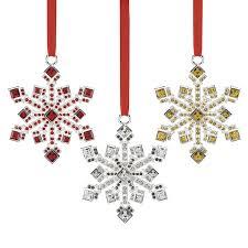 snowflake ornaments jeweled snowflake ornaments set of 3 reed and barton christmas