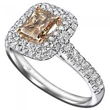 engagement ring with halo 1 35ct princess cut chagne halo engagement ring 14k