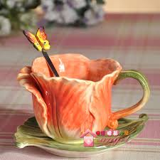 Decorating Porcelain Mugs Tea Coffee Font B Mugs B Font Ceramic Tulip Spoon Milk Cup Home Decor Font B Jpg