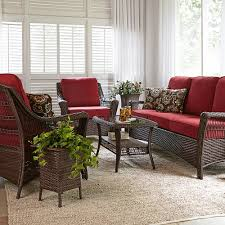 Mayfield Patio Furniture by La Z Boy Scarlett 4 Piece Seating Set Red Outdoor Living