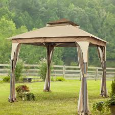 Discount Gazebos by 8 Ft X 8 Ft Steel Frame Gazebo W Beige Brown Canopy And Mosquito