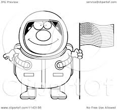cartoon clipart of a black and white chubby astronaut with an