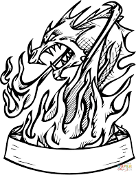 Hand Washing Coloring Sheet - dragon in flames with banner coloring page free printable