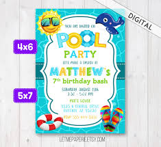 swimming pool party invitation pool party invite boy pool