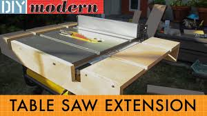 dewalt table saw rip fence extension how to make a portable table saw extension for the dewalt 7480 youtube
